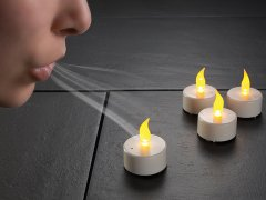 4er-Set LED-Teelichter zum An- und Auspusten