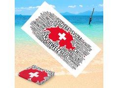 Microfaser-Badetuch 'Wortwolke Schweiz'