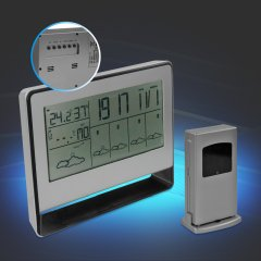 Funk-Wetterstation mit Wettervorhersage, Barometer, Temperaturanzeige