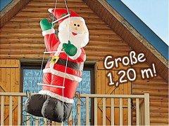 Selbstaufblasender Weihnachtsmann auf Leiter 1.20 m