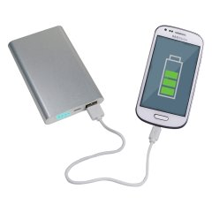 PowerBank 8000mAh, USB +  microUSB, extra flach mit Aluminiumgehäuse