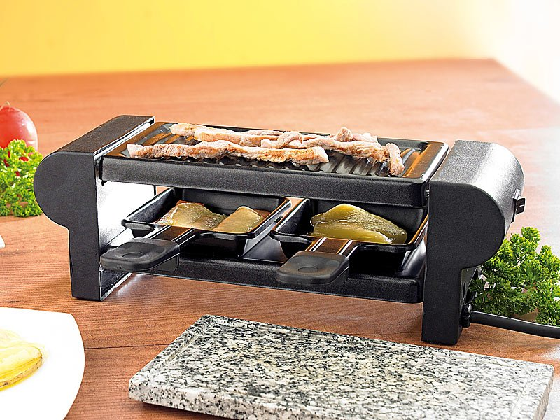 raclette f r 2 mit grill und steinaufsatz. Black Bedroom Furniture Sets. Home Design Ideas